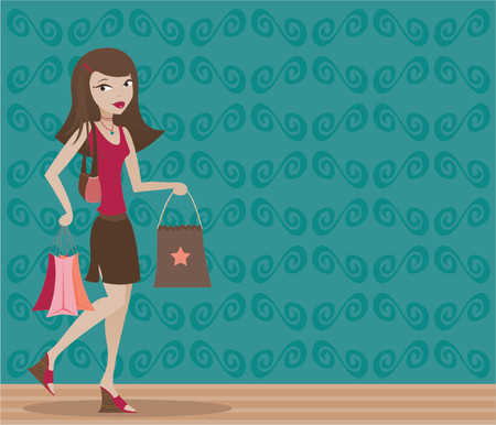 Stylish brunette with shopping bags in hand Vector