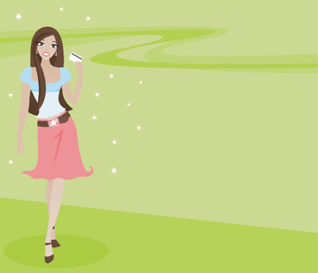woman credit card: Stylish brunette with credit card in hand