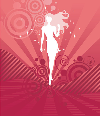 Sparkling white silhouette of a beautiful girl with long, curly hair on a vibrant pink and red background - great for Valentine's designs! Vettoriali