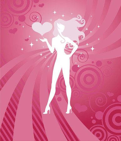 Sparkling white silhouette of a beautiful girl with long, curly hair on a vibrant pink and red background - great for Valentines designs!