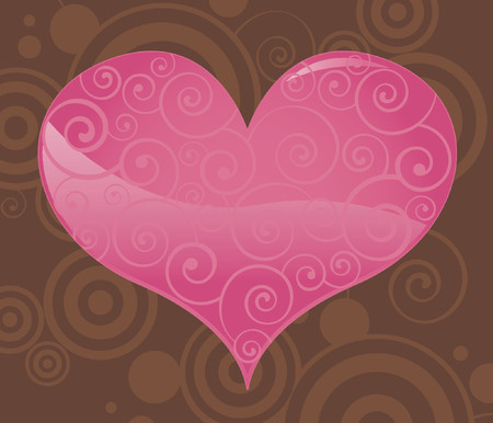 A shiny pink Valentine heart filled with subtle swirls