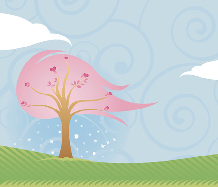 Lovely outdoor scene of blue sky, green grass and pink Valentine tree filled with hearts