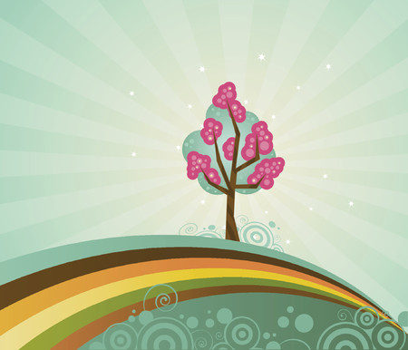 A solo tree, strange and magical, atop a rainbow hill