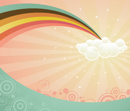 A rainbow ends in a cloud, stretching over a strange and magical landscape -- retro colors and style