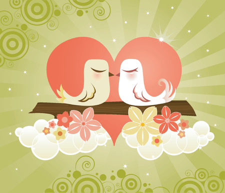Loving little birds kissing in a heart, surrounded by a radiant green sky, fluffy white clouds & flowers - great for Valentine's Day designs Vettoriali