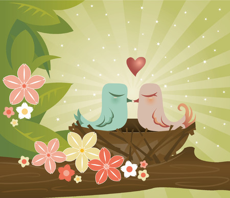 Two birds kiss in their cozy little nest - surrounded by leaves and flowers
