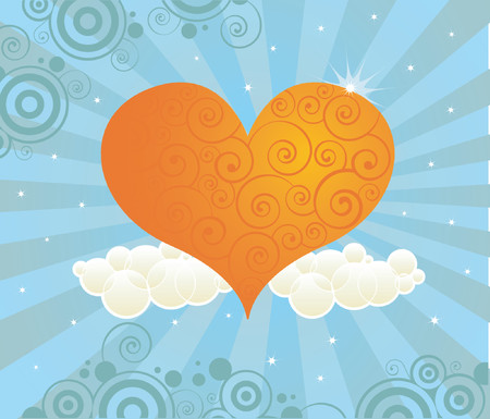 Bright orange heart in a radiant sky of mellow blues - not your usual pink heart for Valentines Day Illustration