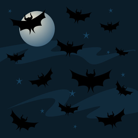 Bats fill the night sky, along with a full moon and stars... great imagery for Halloween Ilustração