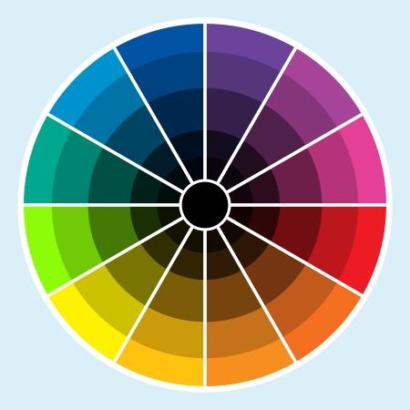 어두운 색조로 진행되는 색상의 클래식 컬러 휠