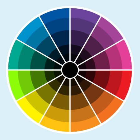 Classic color wheel with colors progressing into the darker shades Illustration