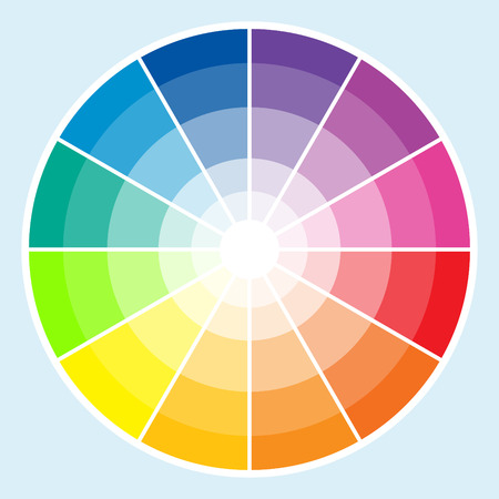 rainbow colours: Classic color wheel with the colors moving into lighter shades