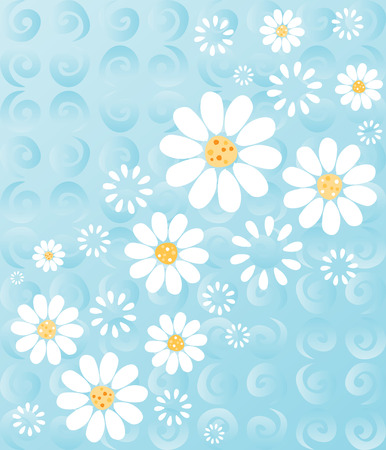 White daisies on a whimsical background of blue swirls - fresh summery floral