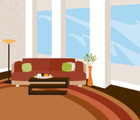 A stylish livingroom with modern furnishings and expansive windows... in warm natural tones Vector