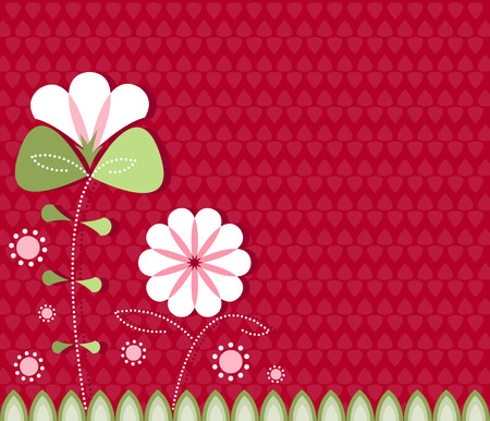 Stylized flowers in white and pink on a red patterned background Vectores