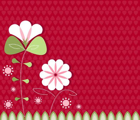 Gestileerde bloemen in wit en roze patroon op een rode achtergrond