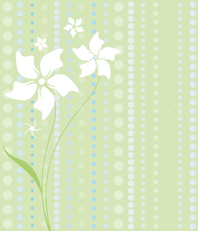 Delicate white flowers on a patterned background of pastel greens and blues Illustration