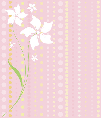 Delicate white flowers on a dotted pattern of pinks and yellows... lovely feminine imagery