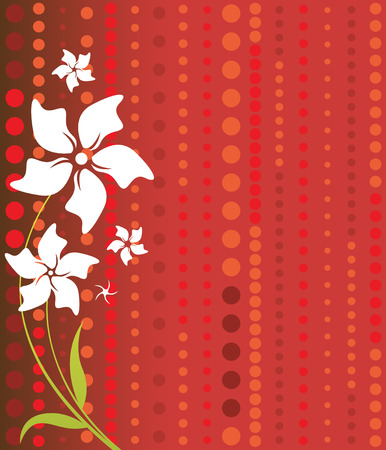 Delicate white flowers on a vibrant read background, with a dotted pattern in shades of red and orange