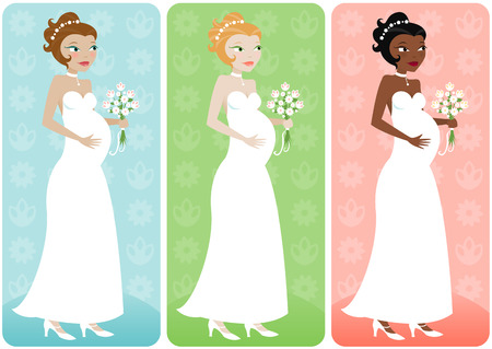 redhead woman: Pregnant bride in her wedding dress with bouquet - in three color variations... Illustration