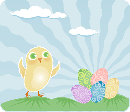 Happy little baby chick finds a colorful pile of decorated eggs on Easter morning Vector
