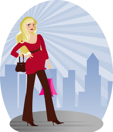 Expectant mother looking beautiful in stylish modern fashion - radiant city skyline behind her...
