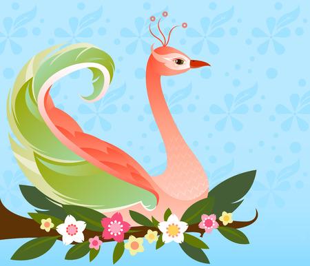 Pájaro hermoso de la fantasía con un plumaje colorido, posado en una rama de flores - con una flor sutil estampado de fondo