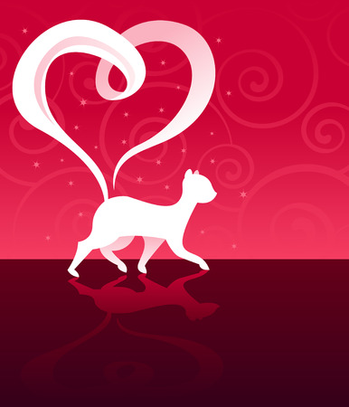 Pretty white cat with a heart-shaped tail... walking across a reflective floor, with swirls and sparkles in the background - great for Valentines Day designs