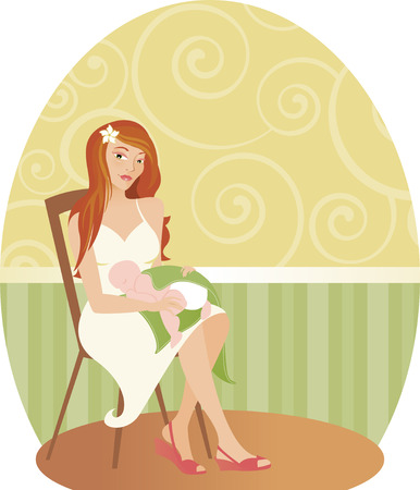 New mom looking beautiful with long, red hair and crisp, white sundress... holding her sleeping baby in her lap Illustration