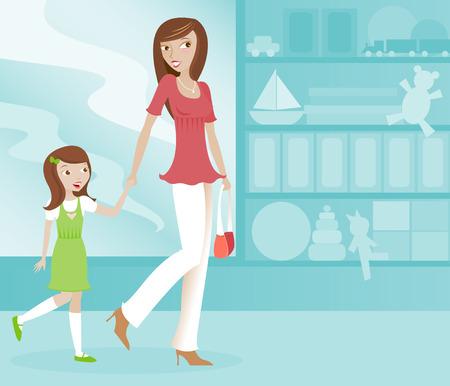 mum and daughter: Cute sua mamma e figlia eccitati di shopping insieme a un negozio di giocattoli Vettoriali