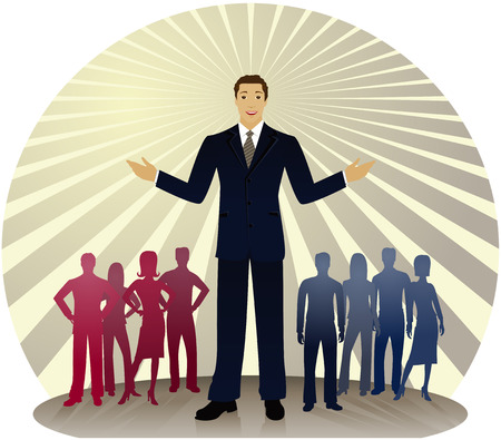Politician standing out in front of silhouetted people divided into red and blue party colors... also could be a business man or sales person