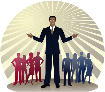 African-American politician standing out in front of silhouetted people divided into red and blue party colors... also could be a business man or sales person Vettoriali