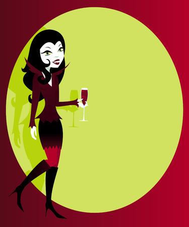 redhead woman: Donna elegante in un vampiro sexy costume di Halloween, con sangue rosso cocktail in mano--abbondanza di copyspace per un annuncio o un invito... Vettoriali