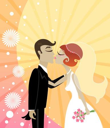 신부와 신랑이 활기찬 별의 배경에 키스하기 시작합니다. 일러스트