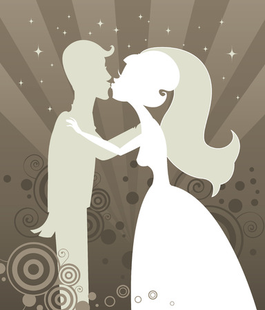Bride and Groom kissing in silhouette - on a radiant starburst background full of shimmering stars and beautiful swirling graphic elements Vector