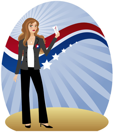 Stylish woman holding her ballot and getting ready to vote - in front of radiant background with red, white and blue banner Illustration