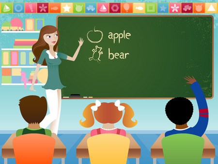 Stylish young teacher in classroom, teaching young students in preschool or elementary school setting. Words on chalkboard are drawn by hand. All like elments are grouped. Vector