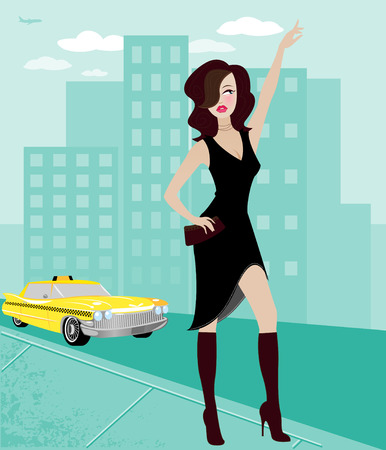 Chic young woman in the city, hailing a taxi cab