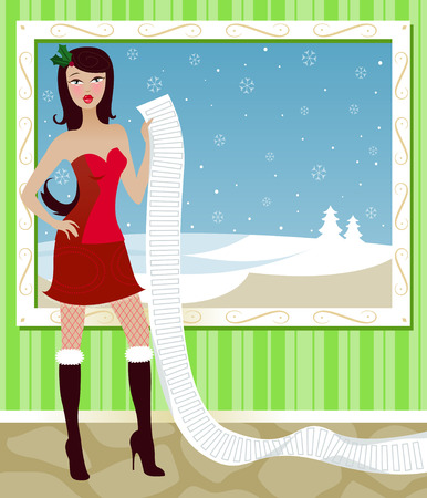 naughty or nice: Santas sexy helper holds a long list of those who have been naughty and nice, or maybe its a shopping list Illustration