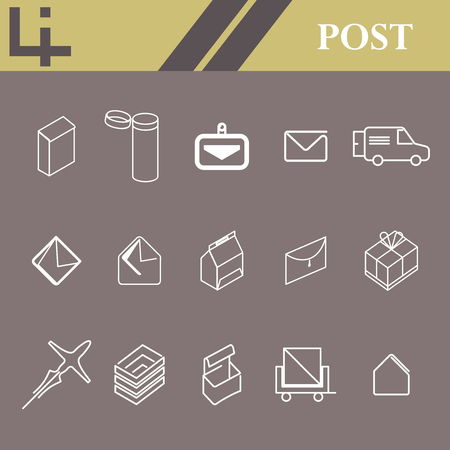 set of linear vector graphic icons postal service