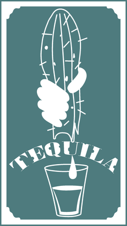 Vector image of alcoholic tequila beverage, vector illustration.
