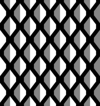 Monochrome vector seamless texture of three-dimensional graphic elements