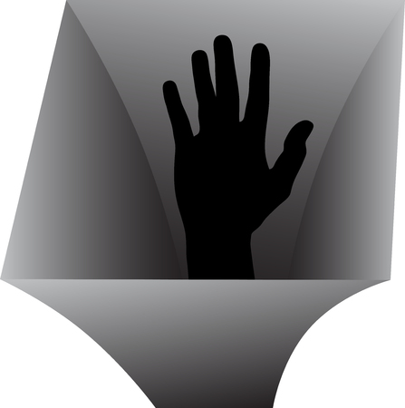 Vector icon of a man's hand from the abyss