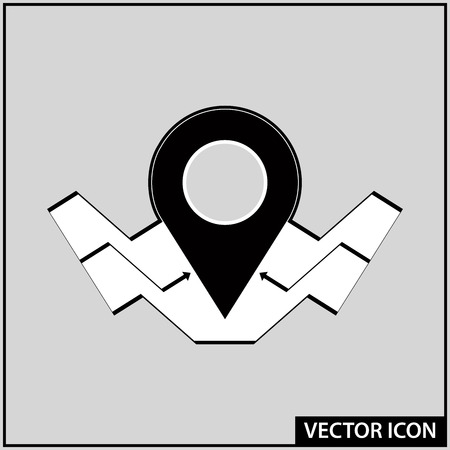 vector graphic linear icon for navigation and location