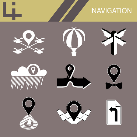 Set of vector navigation and location icons Stock Illustratie