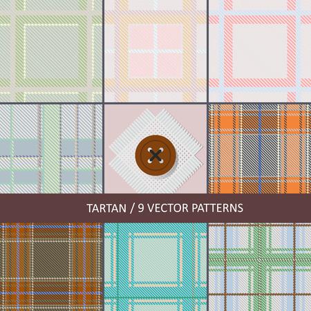 set of seamless vector textures of tartan fabric