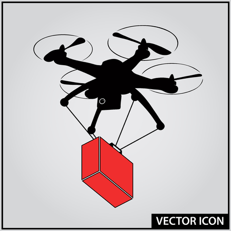 ambulance flying drone vector icon