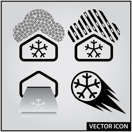 set of web icons winter weather forecast
