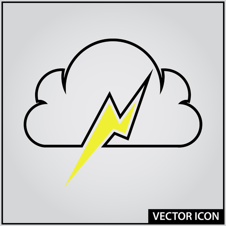 vector icon of cloud with lightning