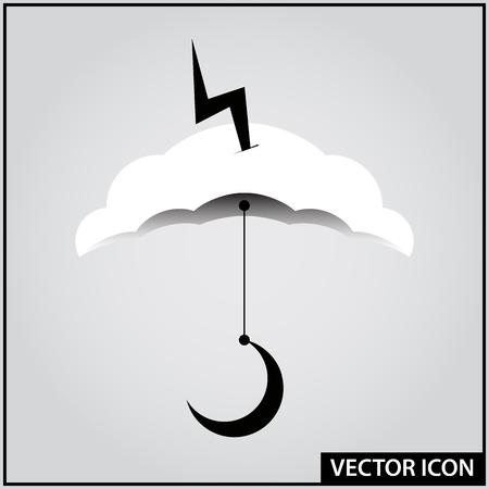 rain icon lightning weather vector Ilustração