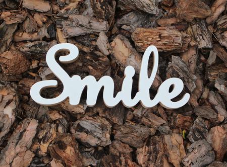3d white text smile on wood bark background Banco de Imagens